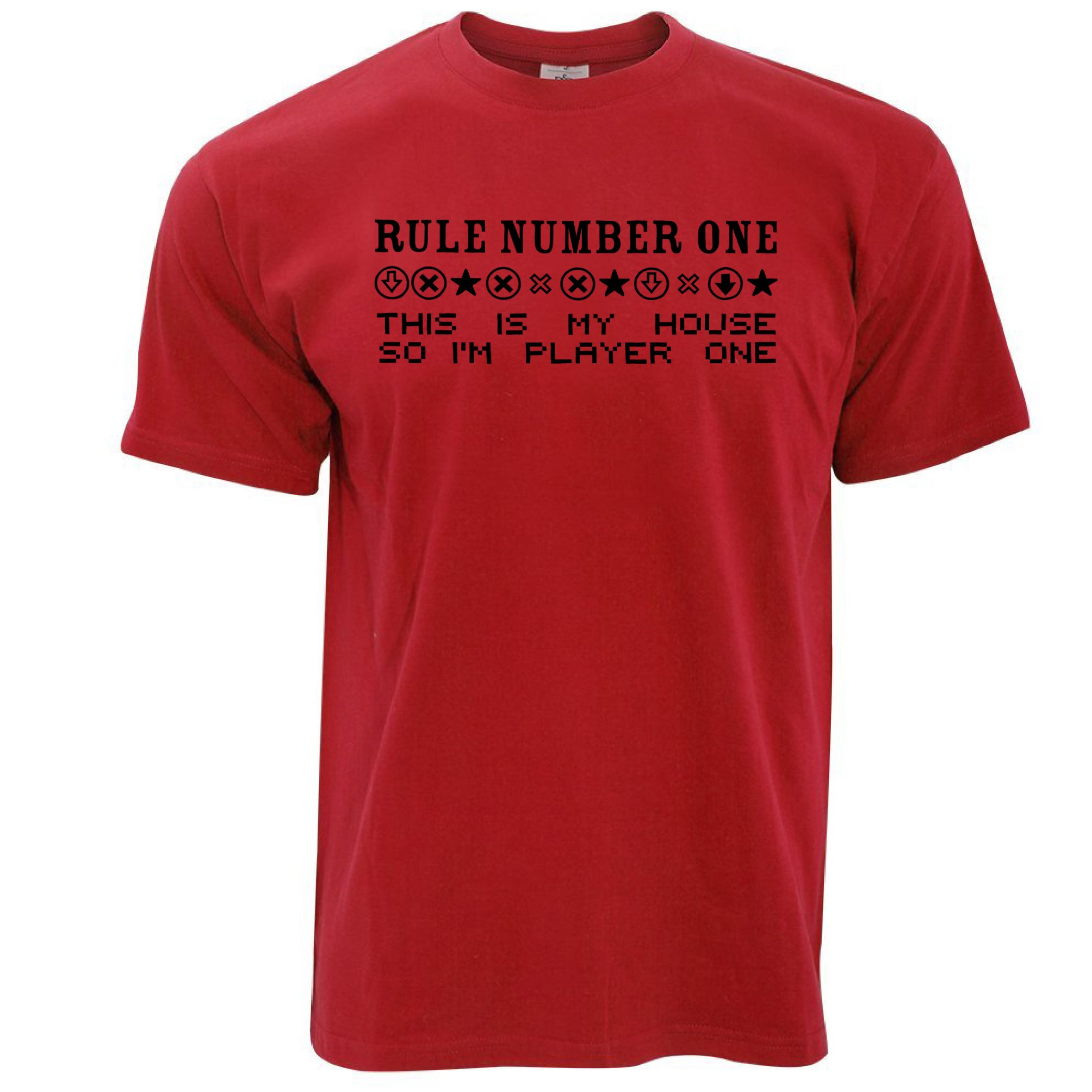 Rule number one my house player one joke gamer funny for Graphic design t shirts uk