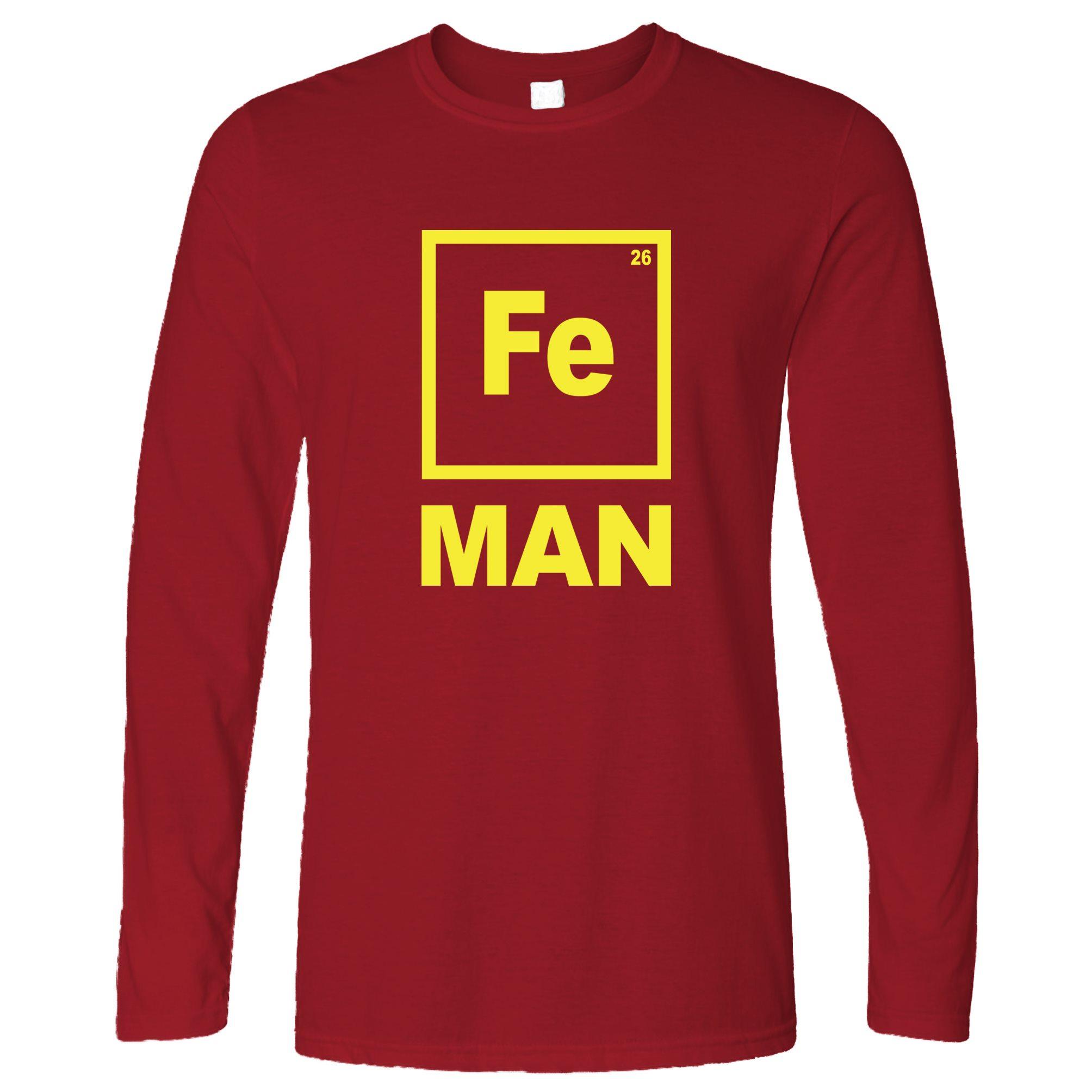 Fe Man Funny Chemistry Shirt Periodic Table Element Elemental Long