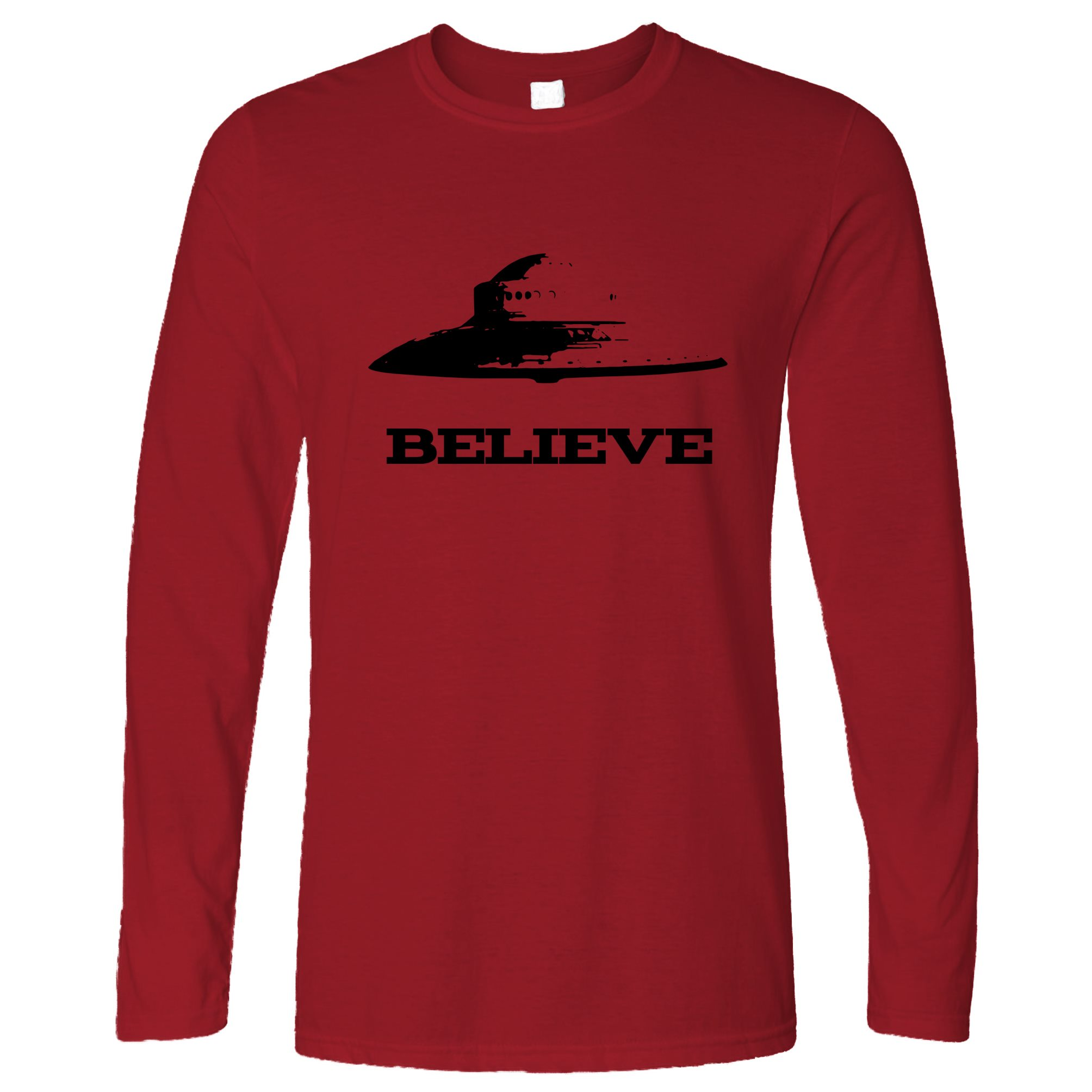 Believe-UFO-Flying-Saucer-Nerd-Geek-Science-Sci-Fi-Alien-Space-Long-Sleeve