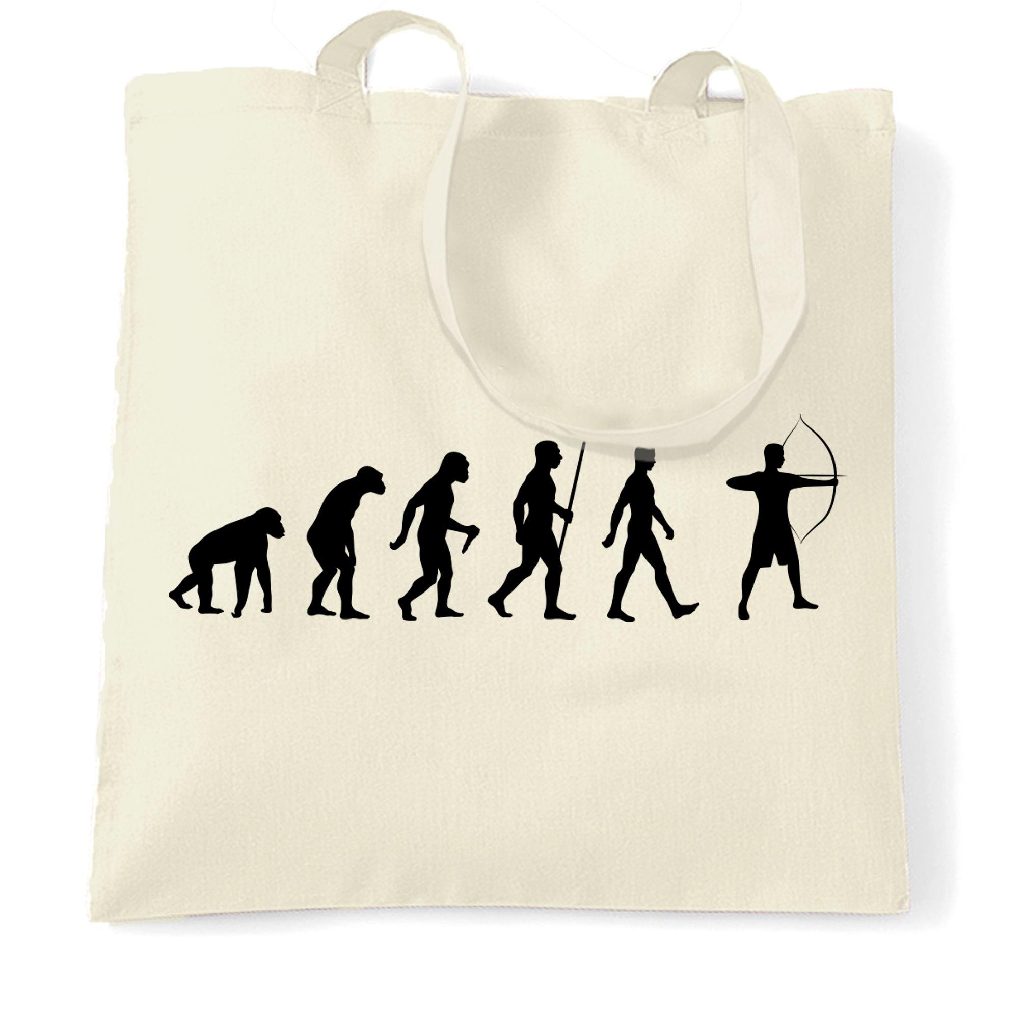 Bogenschiessen-Tragetasche-Evolution-der-lustig-Darwin-Parodie-Hobby-Sport