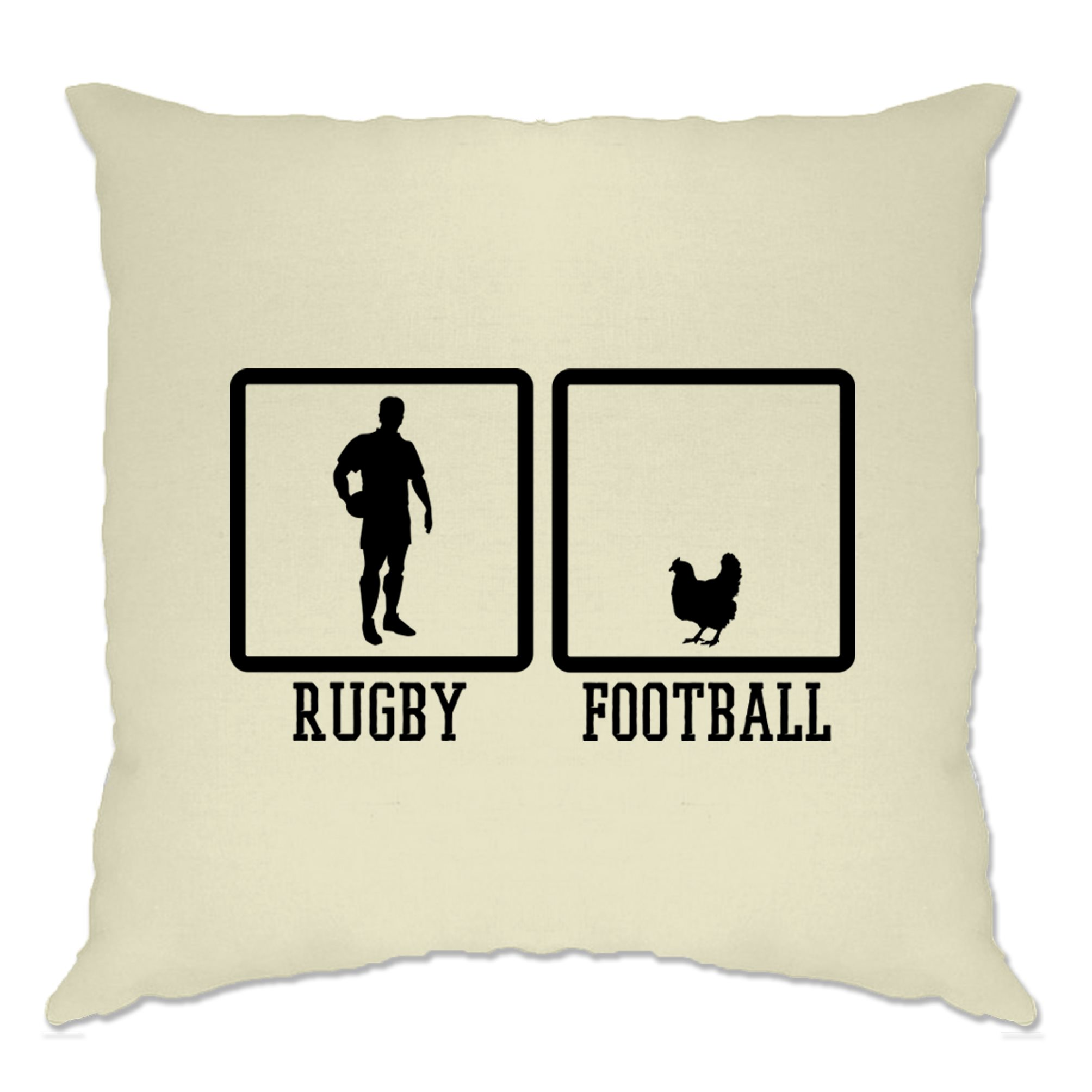 Rugby Cushion Cover Rugby VS Football... Chicken Sports